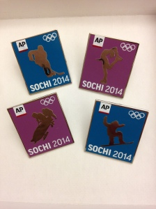 AP souvenir pins for the 2014 Sochi Olympics.