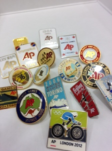 AP Olympic pins from years past (AP photo)