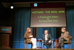 "AP journalist Kimberly Dozier, left, leads a discussion of Vietnam War photography and news coverage at New York's 92nd Street Y, with Pulitzer Prize-winning journalist Peter Arnett, center, and author Pete Hamill, Thursday, Feb. 27, 2014. Hamill wrote the foreword for AP's photo book ""Vietnam: The Real War."" (AP Photo)"