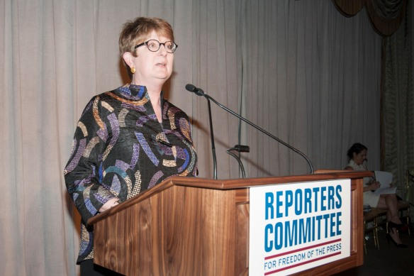 AP Senior Vice President and Executive Editor Kathleen Carroll addresses a gathering of the Reporters Committee for Freedom of the Press, Monday, May 19, in New York. (Photo by ©PATRICKMCMULLAN.COM)