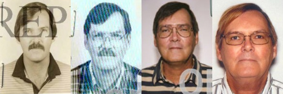 This combination of photos provided by the Federal Bureau of Investigation shows William James Vahey in 1986, 1995, 2004 and 2013. Vahey, 64, killed himself in Luverne, Minn. on March 21, 2014. (AP Photo/FBI, File)