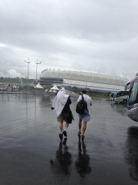 AP sports writers Ronald Blum (New York), left, and Brett Martel (New Orleans) walk through the rain for press conference day in Recife, Brazil, on Wednesday, June 25, ahead of the US-Germany match. (Photo by Janie McCauley)