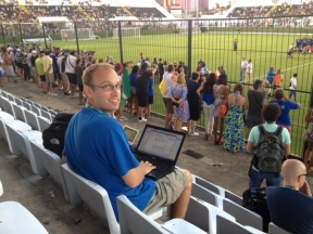 Rome-based AP sports writer Andrew Dampf covering the Italy World Cup training in Natal, Brazil. (Photo by Jim Vertuno)