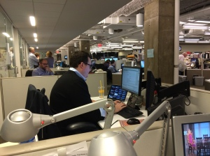 U.S. Political Editor David Scott analyzes election results at AP's Washington bureau on Nov. 4, 2014. (AP Photo/Eric Carvin).