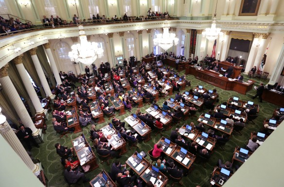The California State Assembly met for an organizational session where lawmakers took the oath of office at the Capitol in Sacramento, Calif., Monday, Dec.  1, 2014.  Both houses of the Legislature will reconvene after the new year. (AP Photo/Rich Pedroncelli)