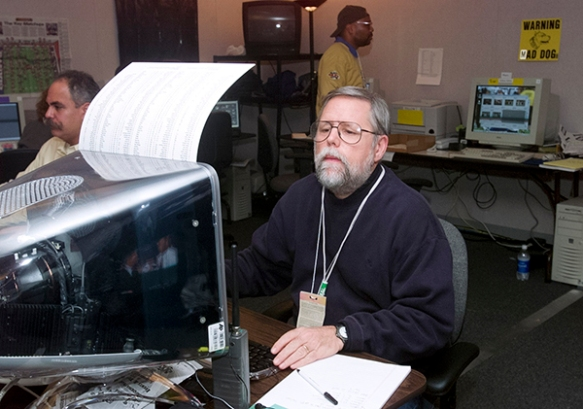 Photo editor Brian Horton at the NFL Super Bowl XXXV in Tampa, Jan. 28, 2001. (AP Photo/Mark Duncan)