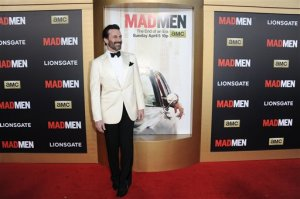 "Jon Hamm arrives at The Black And Red Ball In Celebration Of The Final Seven Episodes Of ""Mad Men"" on Wednesday, March 25, 2015, in Los Angeles. (Photo by Richard Shotwell/Invision/AP)"
