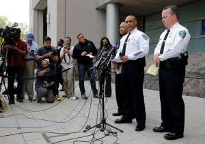 Baltimore Police Department Commissioner Anthony Batts announces that the department's investigation into the death of Freddie Gray was turned over to the State's Attorney's office a day early at a news conference, Thursday, April 30, 2015, in Baltimore. Standing at right is Deputy Commissioner Kevin Davis.  Batts did not give details of the report or take questions. He said the department dedicated more than 30 detectives to working on the case and report. (AP Photo/Patrick Semansky)